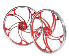 "Brand New BMX 20"" Full Aluminium Front & Rear Wheel Set - Sliver Red"