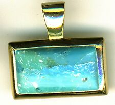 925 Sterling Silver Gold Plated / Vermeil Turquoise / Larimar Pendant  5.8 grams