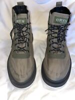 Orvis Mens Boots Brown Green Lace Up Mid Top 14 New Felt Bottom Fly Fishing