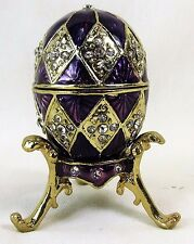 Purple Egg with stand and necklace jeweled pewter trinket box home decor