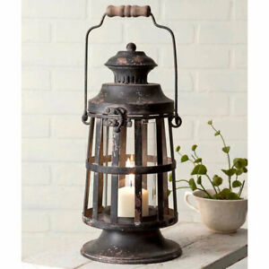 Rustic Reproduction Curtis Island Candle Lantern- Vintage Farmhouse Decor