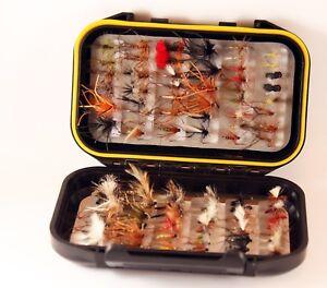 River Fishing Dry Flies W/Proof Fly Box Named Varieties Range of sizes 30 Flies