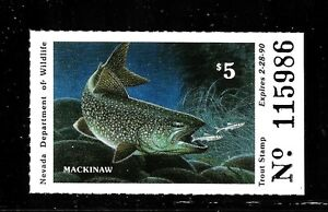 HICK GIRL-OLD M.N.H. STATE OF NEVADA  1989  FISHING  STAMP     X2442