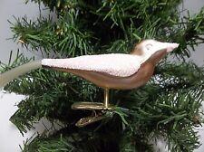 Vintage Blown Glass Clip On BIRD Christmas Tree Ornament PEACH Glitter