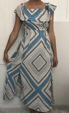 River Island women Dress Size 10 White Blue Long Full Length Maxi Summer