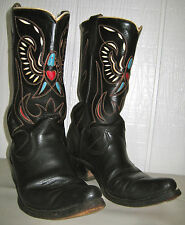 Vintage Leather Eagle Inlay Cowboy Boots Texas Boot Co. 7D men, 8.5W women