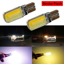 2x T10 194 168 3000LM W5W COB Car LED Strobe Flash Light Bulbs White Amber Lamp