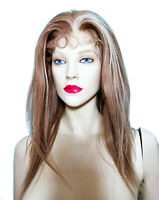 Human Hair Indian Remi Remy Full Lace Wig Silk Top PU Thin Skin Brown Blonde Mix