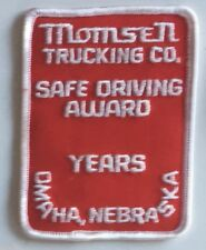 Momsen Trucking Co safe driving award years Omaha NE driver patch 4 X 3 #2360