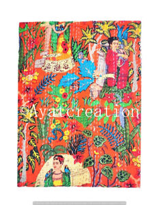 Indian Handmade Floral Kantha Quilt Reversible Bedspread Double Cotton