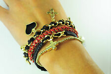 LADIES CHUNKY GOLD RED BLACK MULTI CHARM BRACELET SET BRAND NEW UNIQUE (CL9)