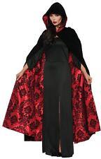 ADULT BLACK & RED VELVET HOODED CAPE CLOAK GOTHIC COSTUME DRESS UR28084