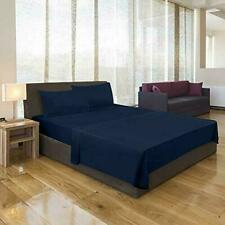 Deep Pocket Solid Color 1800 Count Microfiber Bed Sheet With Pillow Cover Blue