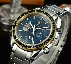 Tandorio Band Dress Blue Automatic Men Watch Date Mineral Glass Steel Sub Dial