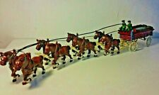 RARE VINTAGE BUDWEISER CLYDESDALE BEER WAGON HORSES CAST IRON WOOD BARRELS