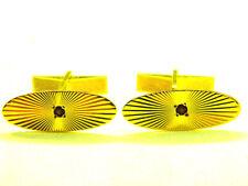 mens 14k solid yellow gold fancy starburst design red stone dress cufflinks