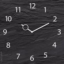 Uhr aus Glas Glasuhr Wanduhr - Schwarze Schiefertafel grau weiß - 30 x 30 cm