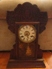 Aldrich Gingerbread Mantel Clock Waterbury 8 day Spring Strike Working Antique