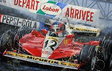 GILLES VILLENEUVE FERRARI 1978 F1 ART ROTONDO RACING ARTWORK PRINT LITHOGRAPH