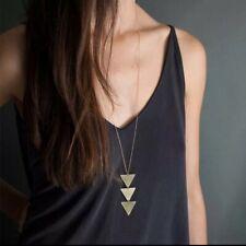 Very Long Pendant Necklace Gold Triangle Geometric Thin Chain Minimalist Elegant