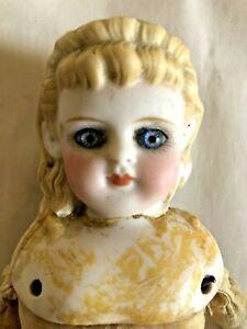 "Antique German Parian Doll Glass Eyes 11"" Tall Dress & Undergarments for Repair"