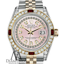 Ladies Rolex Steel & Gold 26mm Datejust Watch Pink String Dial Ruby & Diamond