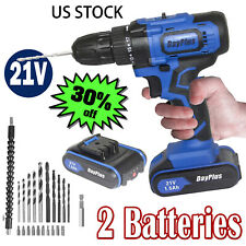 2 Battery 21V Cordless Drill Driver Set Li-Ion Electric Screwdriver Multi Speeds