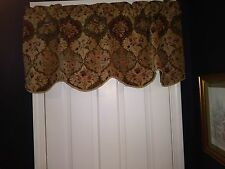 Floral Valance Formal Scalloped Wine Green Braid Trim 20x53 New (2 Available)