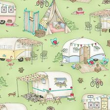 Roam Sweet Home Glamour Trailer Green By the yard cotton print by Kris Lammers