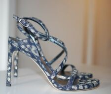 STUART WEITZMAN Sultry Denim Silver Ankle Nudist Sandal Pump Shoes 9 US/39 EU