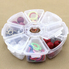 8LOTS  Storage Box Case Organizer Display Jewelry Bead Makeup Clear Round ZY