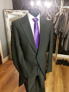 BLACK PINSTRIPE 2 PIECE TAIL SUIT WEDDING/FORMAL/OCCASION/EVENT  MJ-130A
