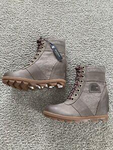 Sorel Lexie Wedge Boots Khaki Women's Size 7 NIB $170
