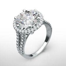 18 KT WHITE GOLD DIAMOND HALO RING ESTATE 4 CARAT SPLIT SHANK SIZE 5.5 6.5 7.5