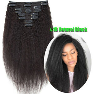 YAKI Kinky Straight/Curly Virgin Human Hair Extensions Clip In 8ps Auburn/Blonde