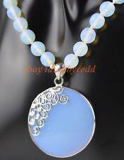 "3# Handmade  8mm   White Moonstone  Opal  Gemstone Faceted Pendant&Necklace 18"""
