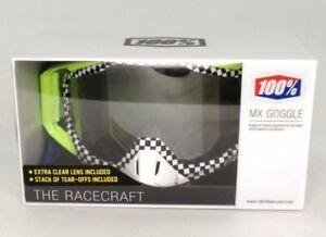 100% Racecraft Andre Goggles w/Silver Lens, Green, Black/White Checker