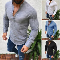 Mens Vintage Casual Shirts Long Sleeve V Neck T Shirt Tee Flax Tops Blouse CH