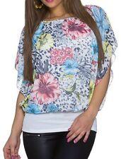 Sexy Damen Chiffon Pump Bluse Shirt kurzer Volant Arm 34/36/38 TOP Blumen weiß