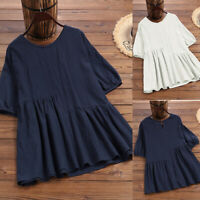 ZANZEA Women Summer Top T Shirt Tee Loose Pullover Puff Sleeve Vintage Blouse