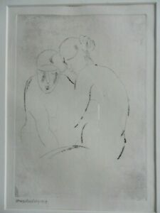 HORACE BRODZKY 1885-1969 ORIGINAL PENCIL SIGNED ECTHING 'TWO FIGURES' DATED 1917