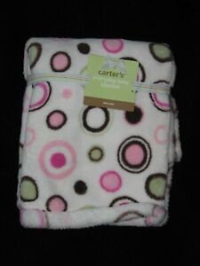Carters Fleece Baby Blanket Circles Dots Off White Pink Brown Green NWT