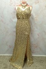GLAMOROUS GOLD SEQUIN EVENING DRESS MAXI LONG STRAPY HIGH SPLIT PROM PARTY 12 14