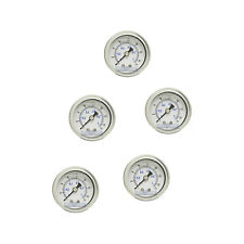 "5 PACK LIQUID FILLED PRESSURE GAUGE 0-15 PSI, 1.5"" FACE, 1/8"" NPT BACK MOUNT"