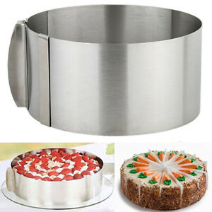 """6-12"""" Adjustable Round Cake Ring Mousse Mold Baking Stainless Steel Retractable"""