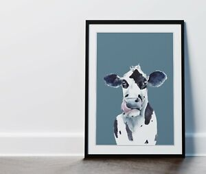 Watercolour Cow Blue Kitchen Wall Art Picture Print Framed or Unframed