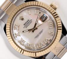 Rolex Datejust II 2-Tone 41mm 116333-White MOP Diamond Roman Dial-Fluted Bezel