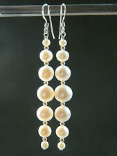 Long Ivory White Freshwater Pearls Graduating & Sterling Silver Bridal Earrings