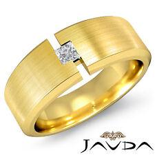 8.5mm Mens Wedding Band 18k Yellow Gold Solitaire Princess Diamond Ring 0.15Ct