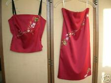 Mandalay dress size 4 two-piece burgundy embroidered